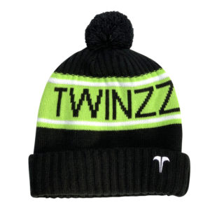 VANCOUVER FLEECE LINED JACQUARD KNITTED HAT Black Lime White